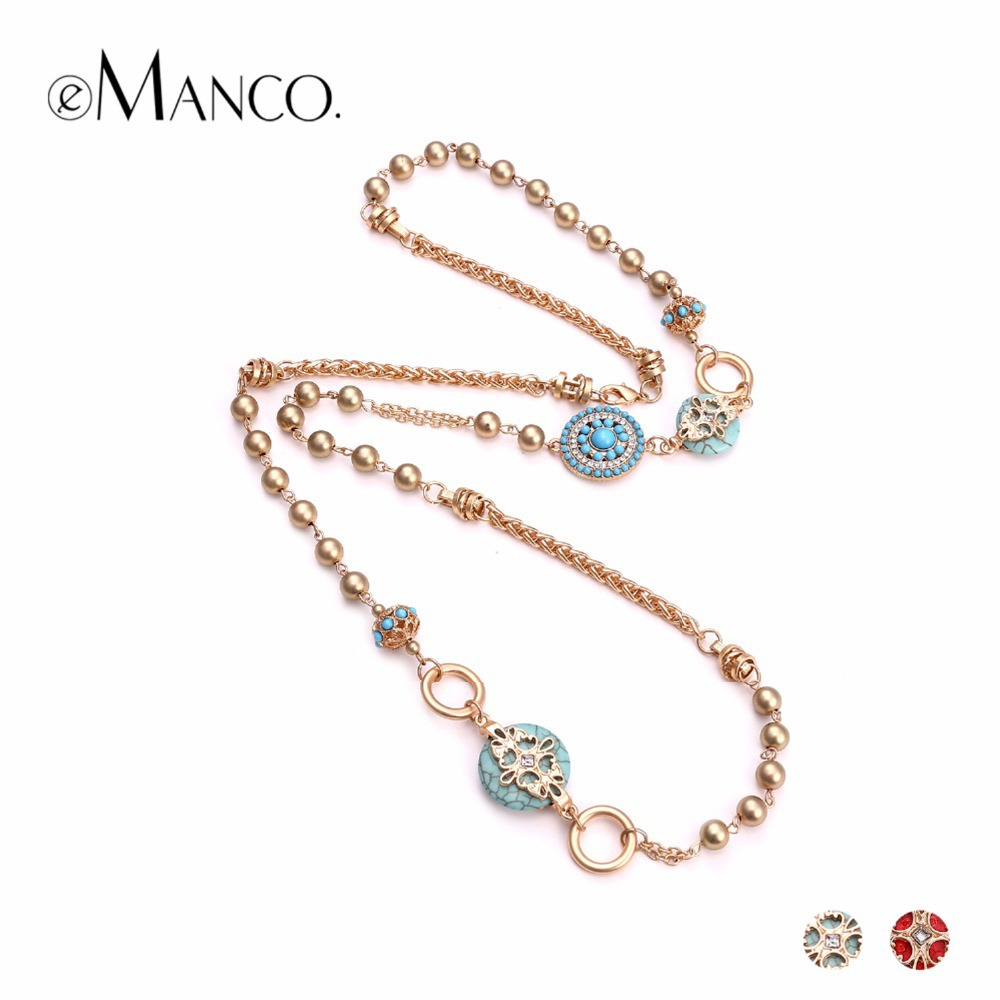 eManco Ethnic Beads for Beadwork Long Necklace Golden&Blue Rope Pendent Charming Necklace for Women Clothes Cosmetic Accessories