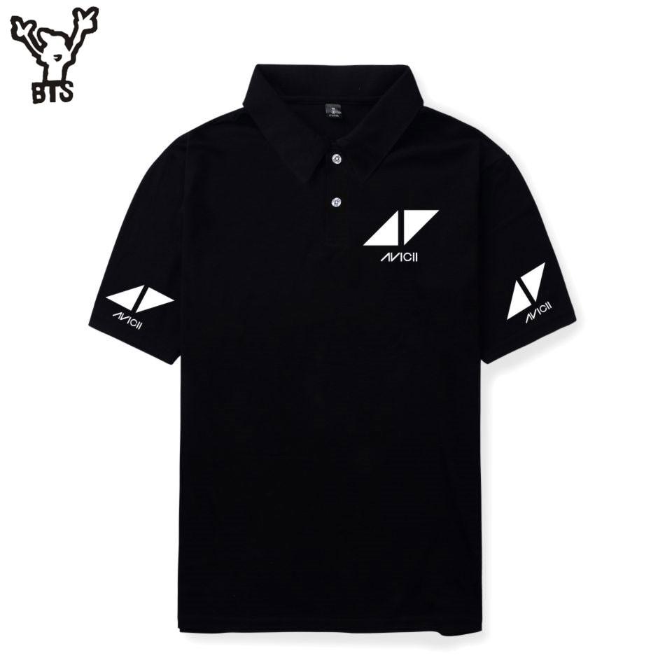 BTS R.I.P Avicii Summer Hot Sale Men Cool Polo Shirt Fashion Kawaii Popular Cartoon Anime Print Hip Pop Short Sleeve Pure Shirt