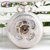 Silver flip hollow piranha male ladies mechanical watch digital / Rome classic retro Watch B087