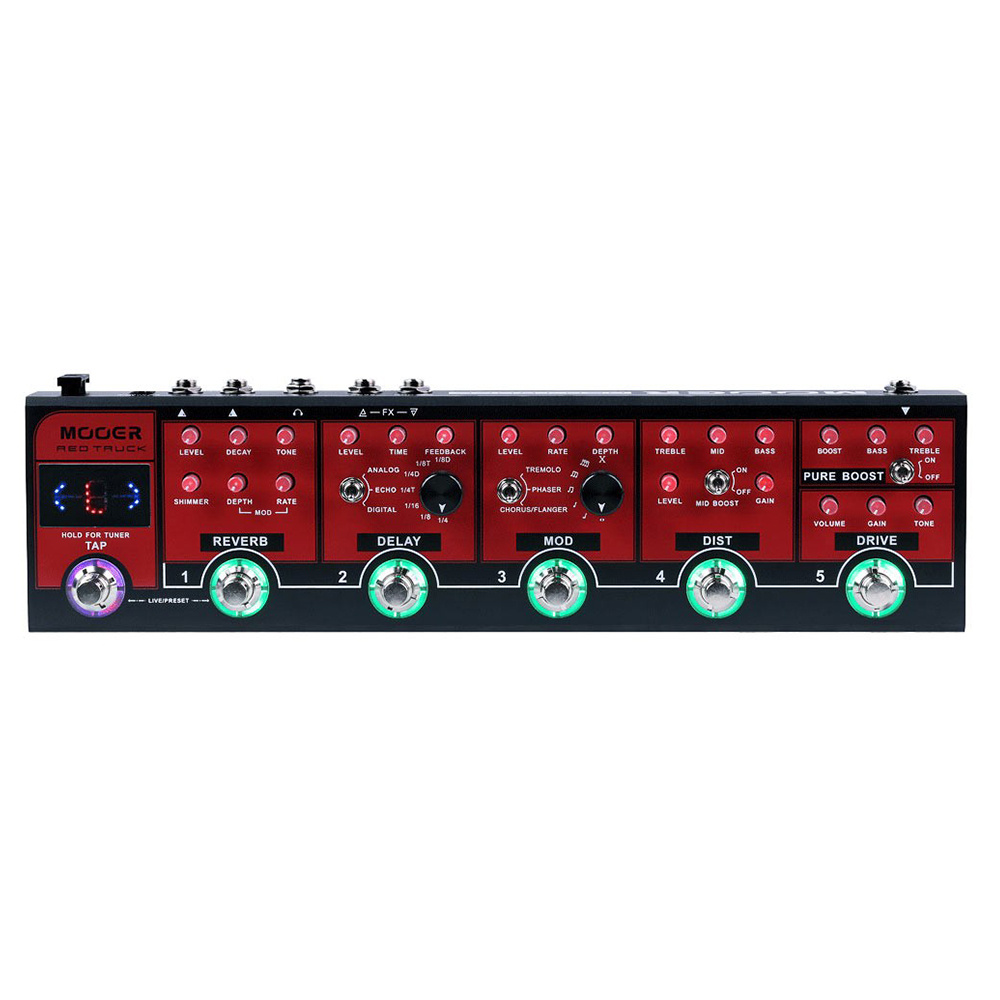 MOOER Red Truck Effect Pedal Tap Tempo Built-in Tuner Modulation Delay Reverb Distortion Overdrive Boost Modules mooer baby tuner tuner pedal 108 high brightness led and is visible even in strong light and sun guitar pedal effect pedal