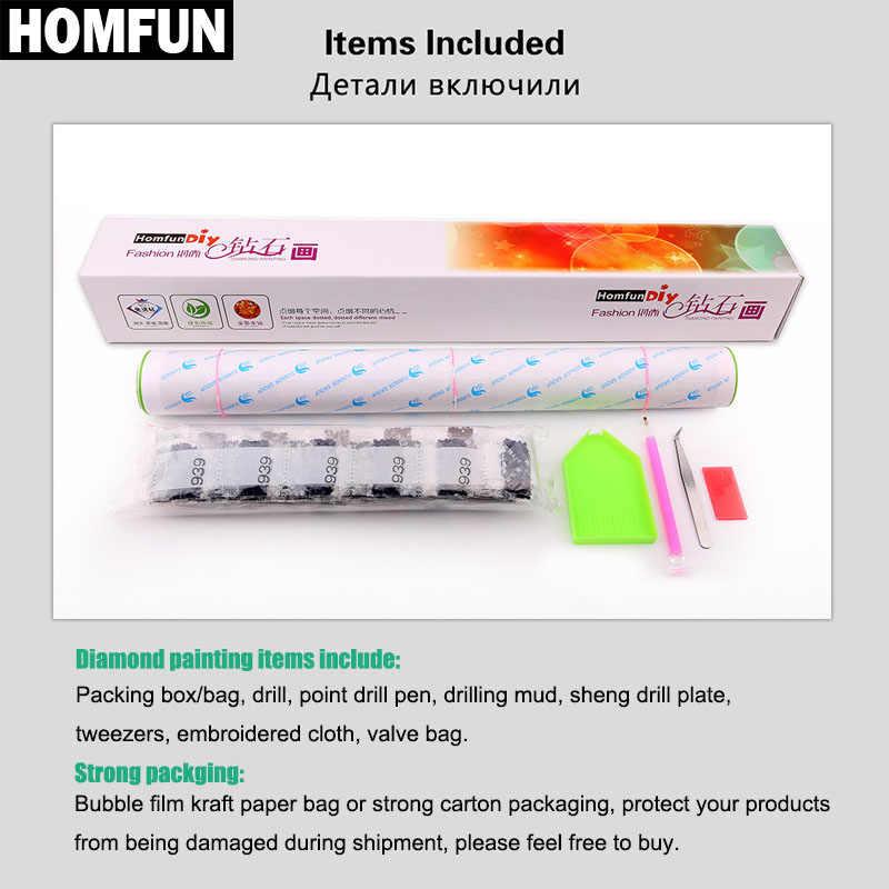 HOMFUN-Kit de bordado de diamantes personalizado, conjunto completo de cristales cuadrados y redondos para mosaico y foto, punto de diamante ideal para regalo de cumpleaños