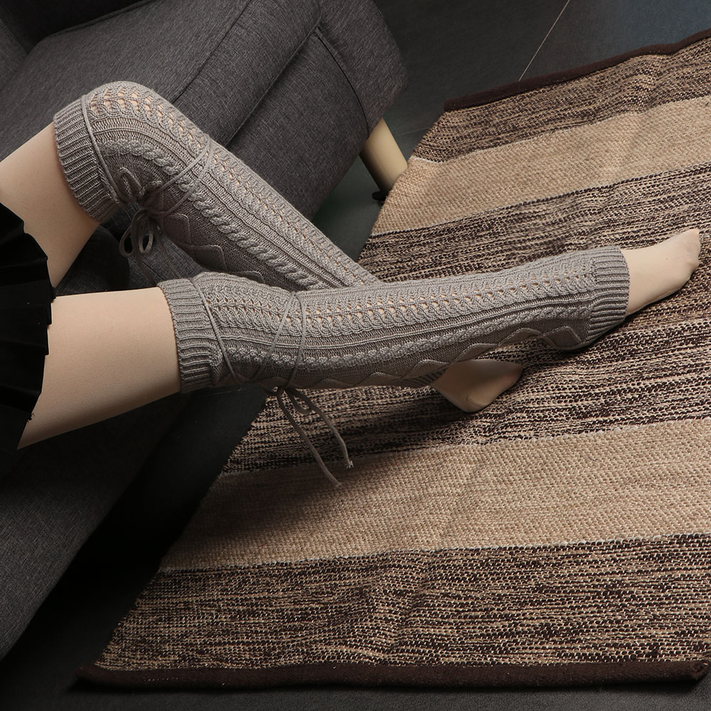 Winter Knitted Crochet Knee High Long Stocking Women Sexy Thigh High
