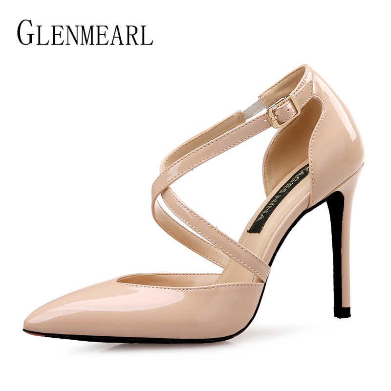 Damskie buty na wysokim obcasie damskie czółenka na co dzień seksowne buty modne buty wsuwane szpiczaste Toe Party buty damskie solidne na cienkim obcasie Plus rozmiar nowy DE