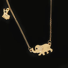 Double Elephant Necklaces Mom Baby Pendants Gold Rhinestone Crystal Animal Charm Choker Link Clavicle Chain Women Jewelry(China)