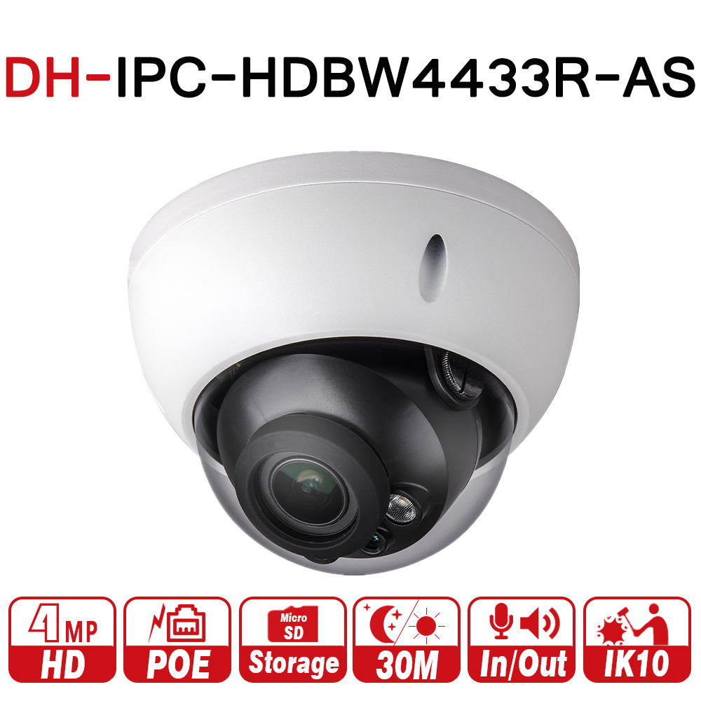 DH IPC-HDBW4433R-AS 4MP CCTV IP Support de Caméra IK10 IP67 Audio in/out & Alarme Port PoE Caméra IR 30 m WDR Sécurité avec dahua logo