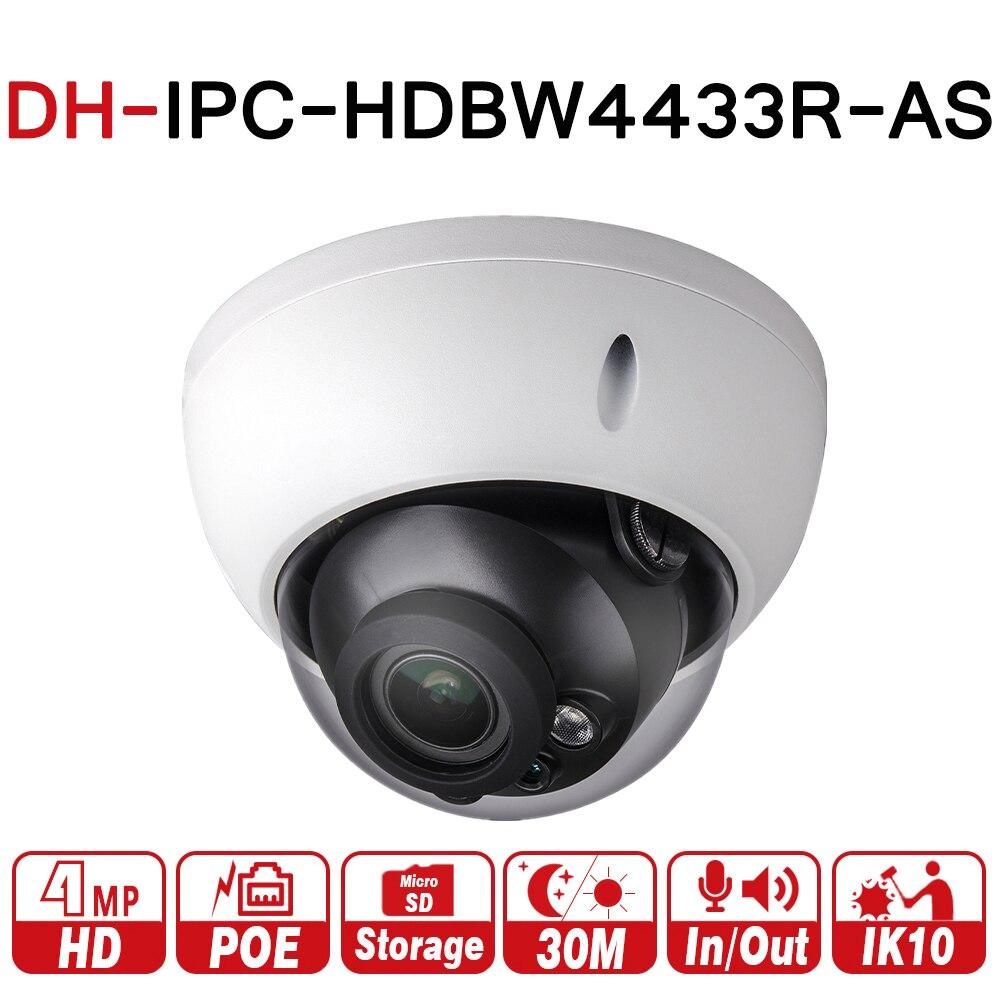 DH IPC-HDBW4433R-AS 4MP CCTV IP Камера Поддержка IK10 IP67 аудио в/out и сигнализации Порты и разъёмы PoE Камера ИК 30 м WDR безопасности с dahua логотип