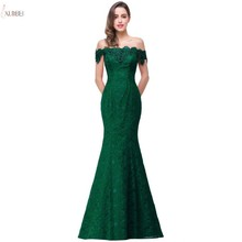 Deep Green Lace Mermaid Long Prom Dresses 2019 Off The Shoulder Beaded Gown Vestidos de gala