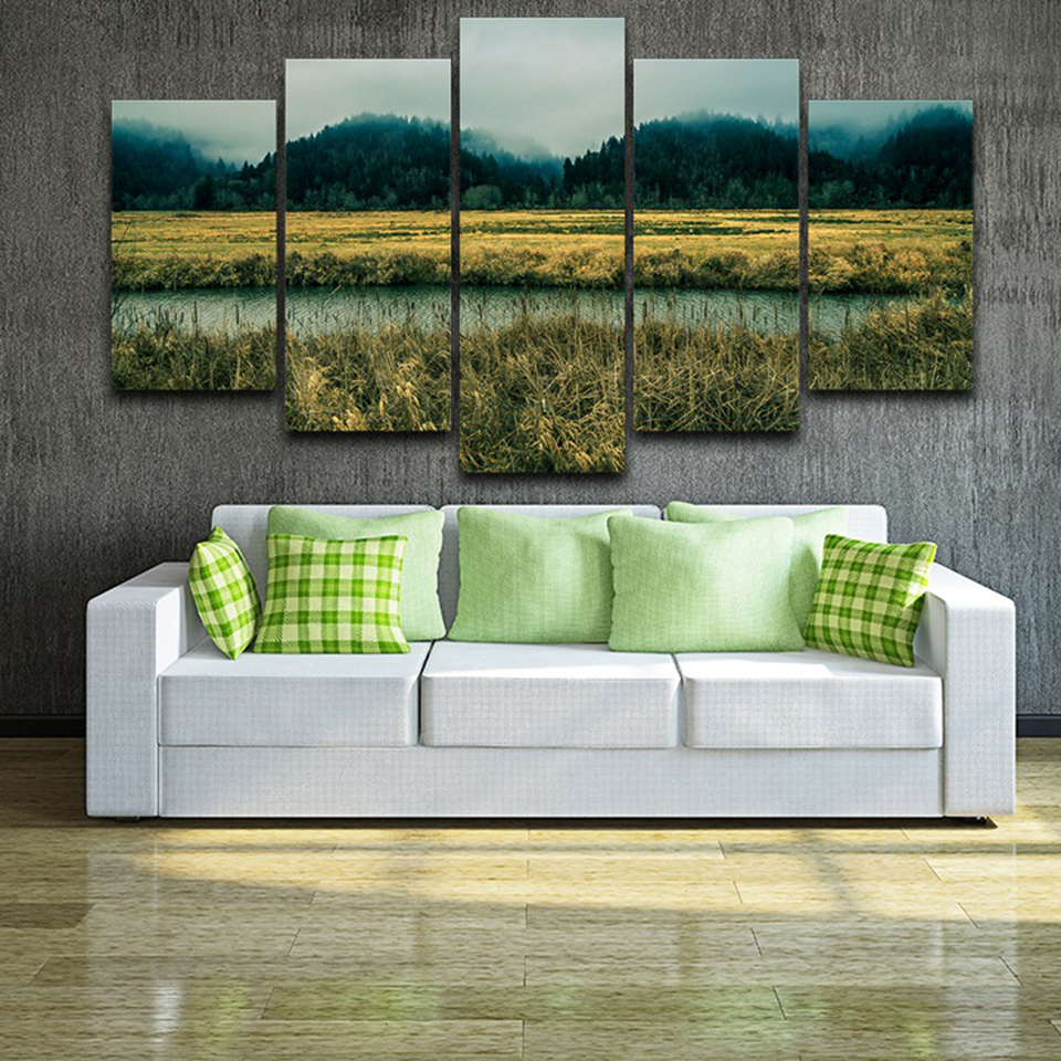 Wall Art Canvas Pictures Home Decor Frame 5 Pieces Green Forest Field Mist Nature Landscape Paintings Modular HD Prints Posters