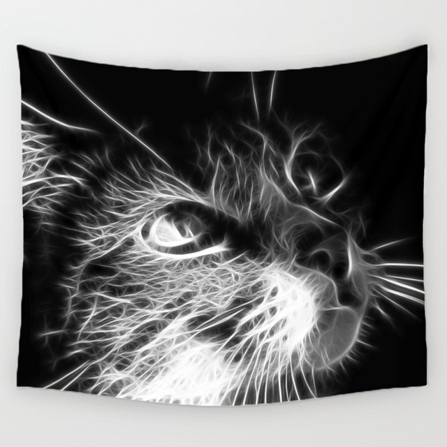 Comwarm 3D Creative Cool Cats Series Pattern Polyester Tapestry Animal Printed Wall Hanging Mural Gobelin Living Room Home Decor 2