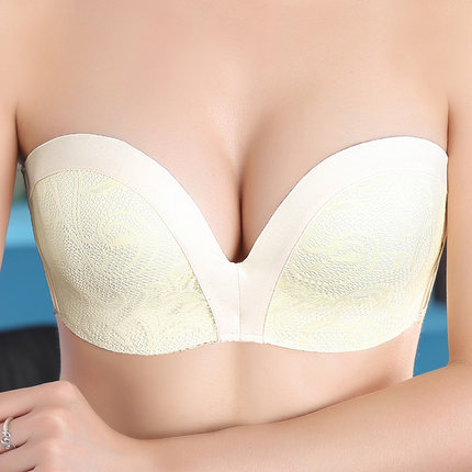 Mozhini One Piece Slip resistant Seamless bra super push Up Bra Strapless big Size Wedding padded cup thick lady