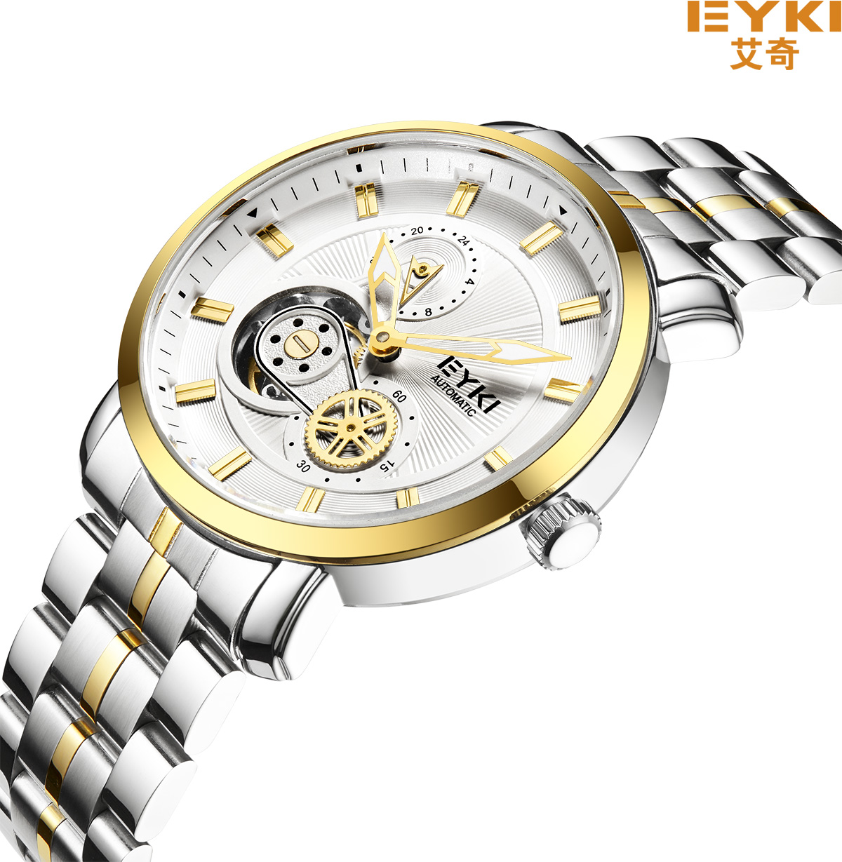 EYKI Top Brand Men Stainless Steel Self Winding Mechanical Watches 10 Bar Men Black Luminous Auto Date Clock Relogio Masculino