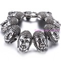 Exotic Style Charming Boys Strong Bracelet Stainless Steel Buddha Head Heavy 22cm*34mm High Polishing Silver Delicate Buckle