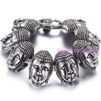Exotic Style Charming Boys Strong Bracelet Stainless Steel Buddha Head Heavy 22cm 34mm High Polishing