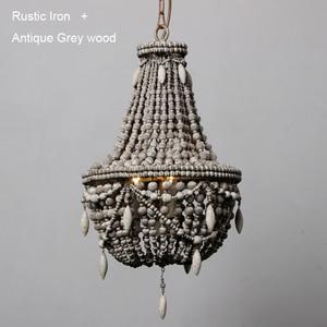 Image 4 - アンティークホワイト木製ビーズシャンデリア照明ヴィンテージ黒キッチンシャンデリアレトロ木製照明器具