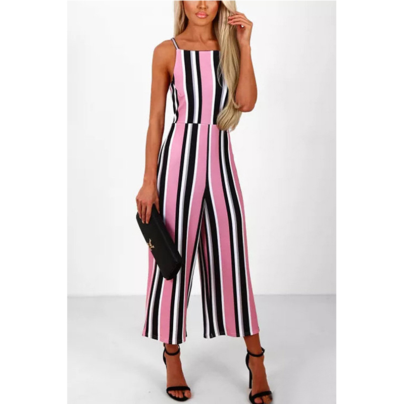 2018 Hot Sell Women Sexy Striped Printed Sleeveless Badage Backless Jumpsuit Women Romper Casual Cloths For Ladies
