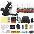 Tattoo New Beginner 1 Pro Machine Gun Tattoo Kit Power Supply Needle Grips tip 7 color ink set