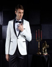 New Custom Made Groomsmen White Notch Lapel Groom Tuxedos One Button Men Suits Wedding Best Man (Jacket+Pants)
