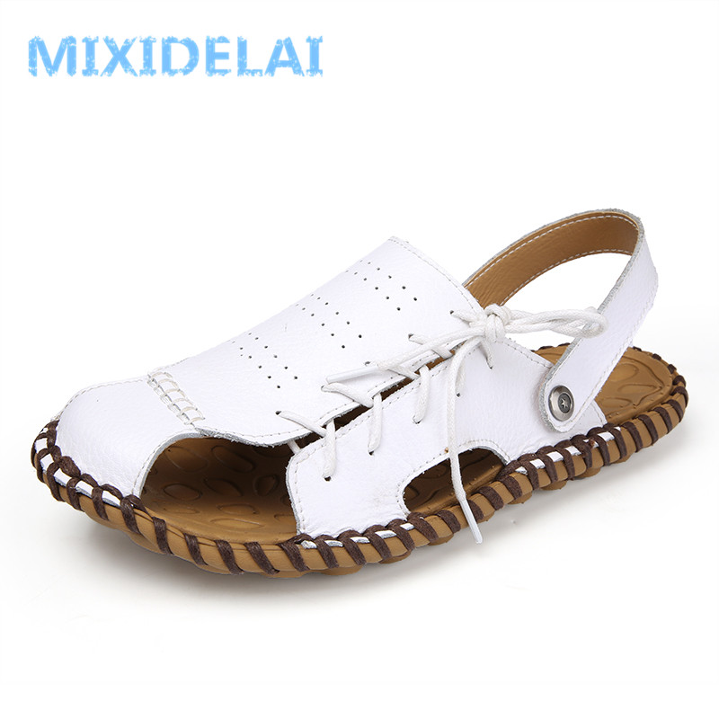 MIXIDELAI Comfortable Handmade Men Sandals Genuine Leather Soft Summer Mens Shoes Retro Sewing Casual Beach Shoes Big Size 45