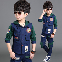 2015 Selling Cartoon children's suits,new spring and autumn boy cowboy suit jacket + trousers Children's clothing 2Pcs Green Red