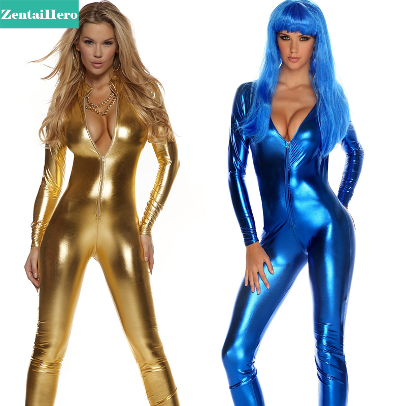 Free Shipping DHL Unisex Fancy Dress Shiny Gold And Blue Bodysuits Zentai Front Zipper Zentai Catsuit Party Jumpsuit Costumes