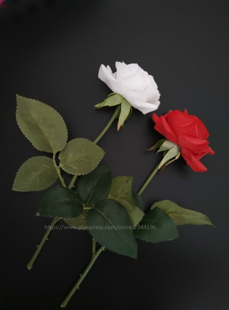 Single white red roses for wedding decoration home flower single white red roses for wedding decoration home flower arrangement real touch fake flowers mightylinksfo