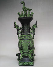 Chinese Antique Bronze Four Dragons Standing Bird Pot Wine Vessel Statue Living Room Home Decoration Collection