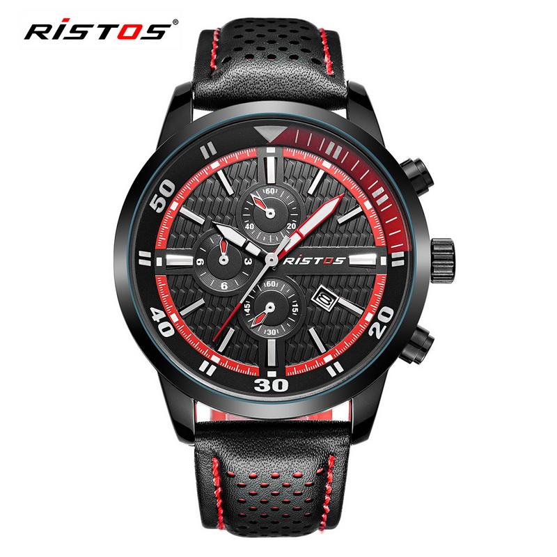 Prix pour 2017 Nouveau Ristos Mens Montres De Luxe Marque Véritable Bracelet En Cuir Militaire Sport Quartz Montre Mâle Vert Rouge relogio relojes Horloge