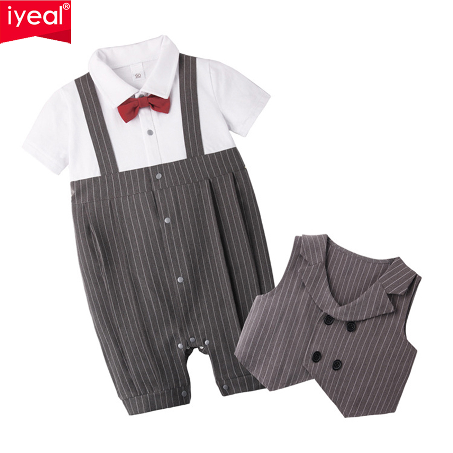 IYEAL Fashion Baby Boy Clothes Set Newborn Infant Clothing Bow Tie Short Sleeve Jumpsuit Overalls + Vest Baby Gentleman Suit kids clothing set plaid shirt with grey vest gentleman baby clothes with bow and casual pants 3pcs set for newborn clothes