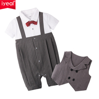 IYEAL Fashion Baby Boy Clothes Set Newborn Infant Clothing Bow Tie Short Sleeve Jumpsuit Overalls + Vest Baby Gentleman Suit