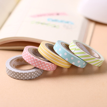 5PCS/Pack Candy Color Rainbow Striped Dots Washi Tape DIY Decorative Tape Color Paper Adhesive Tapes