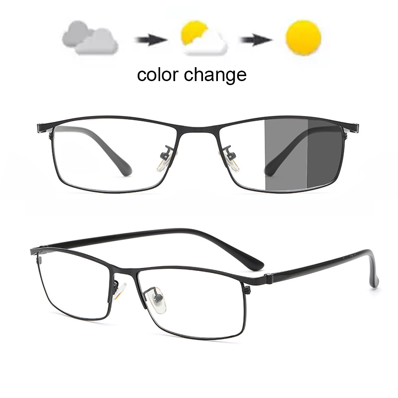 Computer Blue Light Blocking Glasses Full Rim Glasses Mens Rectangle Eyewear Metal Men's Photochromic UV400 Sunglasses Outdoor