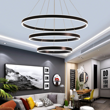 Art Decor remote control chandeliers For Living room Bedroom staircase chandelier Ring led circle hanging luminaire suspendu