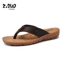 Z Suo Brand 2017 Genuine Leather Women Flip Flops Outdoor Lady Beach Sandals Non Slide Summer
