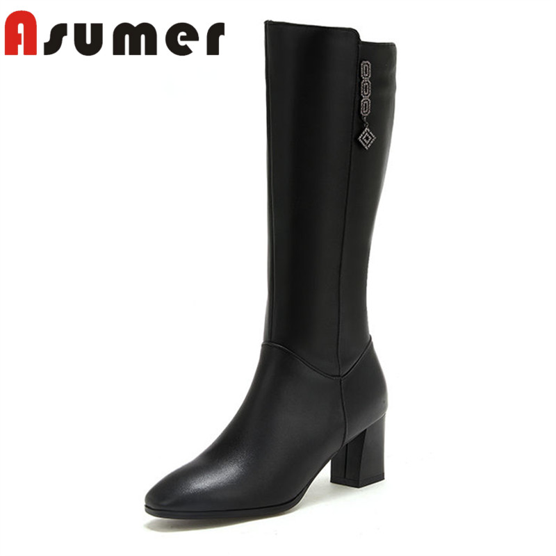 ASUMER HNEW 2018 fashion square toe ankle boots for women thick heels winter boots crystal high quality genuine leather boots 2017 winter fashion black patent leather woman boots round toe crystal ankle boots high quality thick heels riding boots