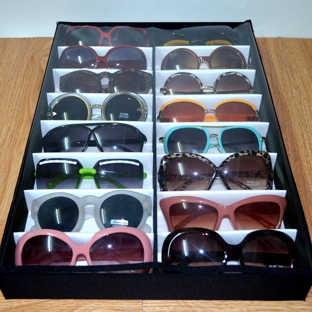 Exceptionnel 2x8 Black Sunglass Glasses Display Tray Eyeglasses Storage Box Jewelry  Organizer Box Case Holder