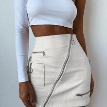 Sweetown White Solid Boho Beach Style Skirts Womens Zipper A Line Skirt Summer High Waist Leather Short Skirt Elegant Holiday