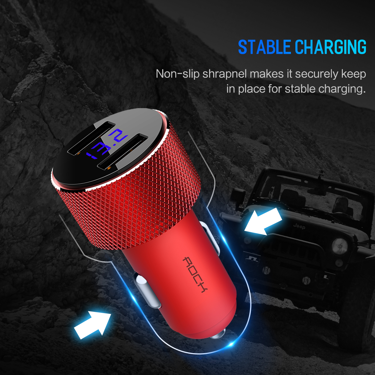 HTB1qYI sC8YBeNkSnb4q6yevFXaS - ROCK 5V 3.4A Metal Dual USB Car Charger Digital Display For iPhone X 8 XS MAX 7 Xiaomi Samsung Fast Charging Voltage Monitoring