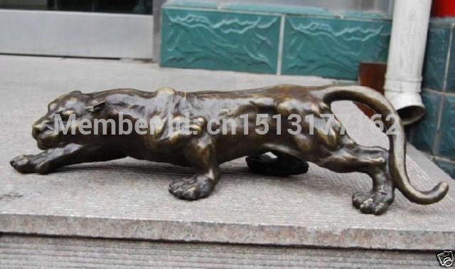 Ремесла Искусство Редкие Бронзовый Скульптура статуя Пантера Leopard Jaguar Cat Гаруда птица Бог статуя бронзовая отделка Будда Исцеление статуя