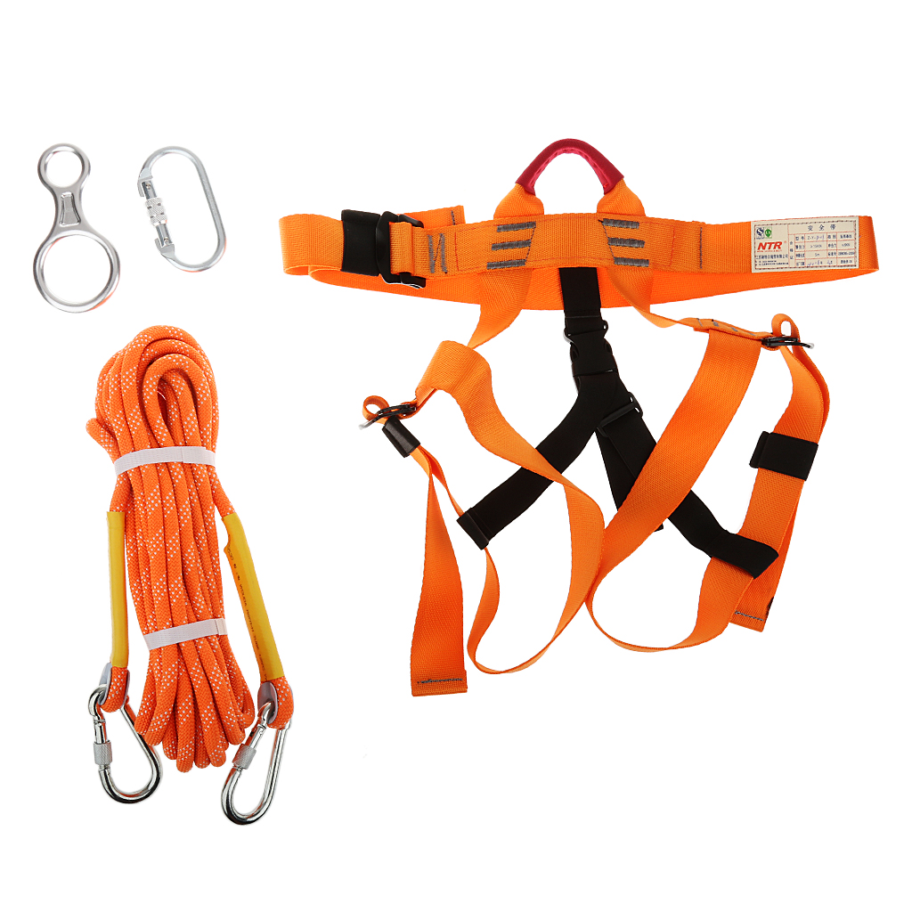 New Outdoor Sports Rock Climbing Safety Harness Sitting Belt Rappelling Carabiner Rope Gear Set Hiking Mountaineering Accessory hot sale safety body harness outdoor mountaineering rock climbing harness protect waist seat belt outside multi tools