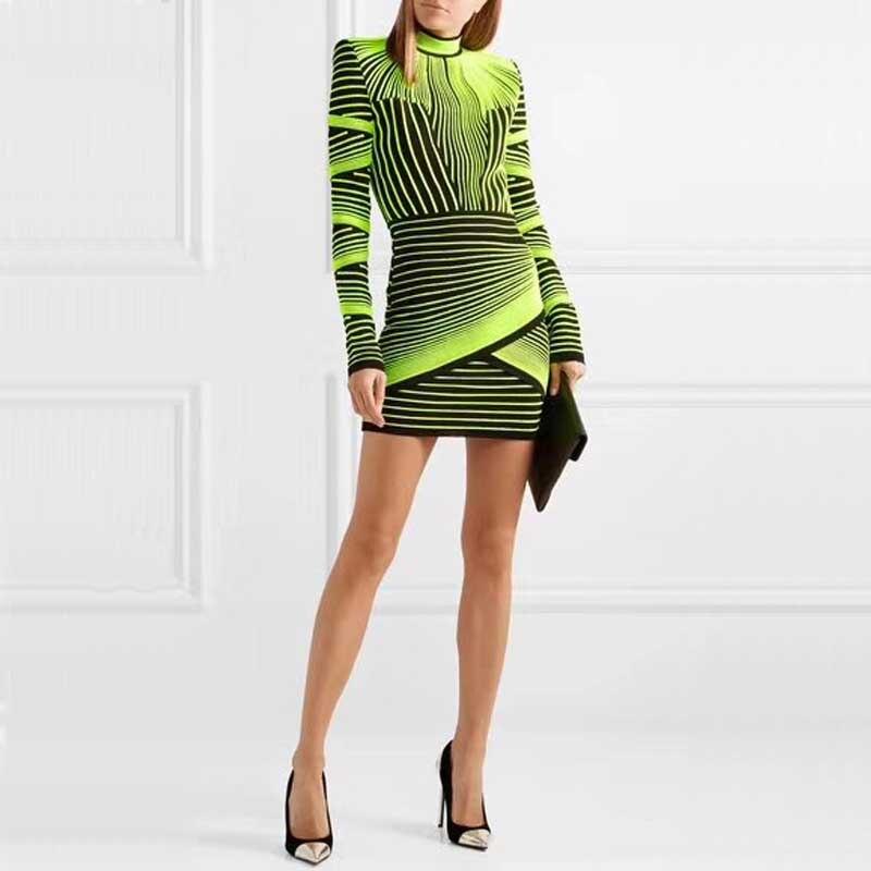 卸売 2019 秋と冬の新ドレスイエローグリーンジャカード長袖豪華なセレブブティック包帯ドレス (H2585)  グループ上の レディース衣服 からの ドレス の中 1