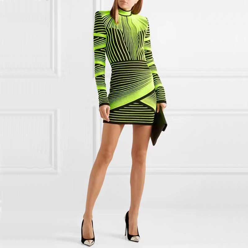 En gros 2019 automne et hiver nouvelle robe jaune vert jacquard à manches longues luxueuse célébrité boutique bandage robe (H2585)