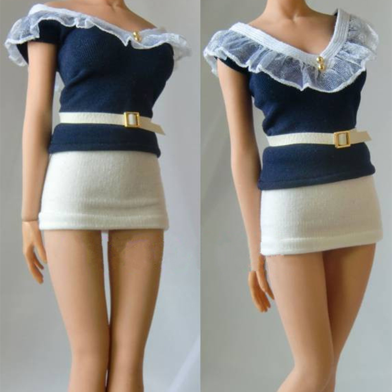 1/6 scale sexy girl woman shaped T-shirt and skirt models for 12 inches female lady bodies action figures clothing set unit image