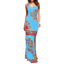 mujer 2020 summer sexy longue femme ete Women Boho Floral Sleeveless Dashiki Maxi Long African Bohemia party Dress vestidos(China)