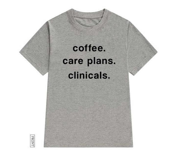 กาแฟ Care แพลนคลินิกพยาบาลผู้หญิง tshirt Cotton สบายๆตลกเสื้อ t เลดี้ Yong สาว Top Tee 5 สี Drop เรือ S-626