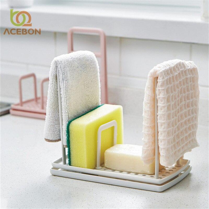 ACEBON 1 PCS Storage Rack Standing Type Sponge Holder Shelf Plate For Pad Towel Mutifuctional Organizer Home Kitchen Accessories