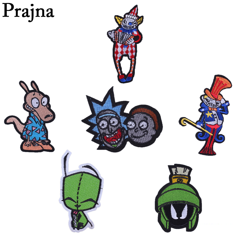Prajna Cartoon Joker Embroidered Patches For Kids Clothes Applique DIY Sewing Anime Dog Patch Badge Apparel Stickers E