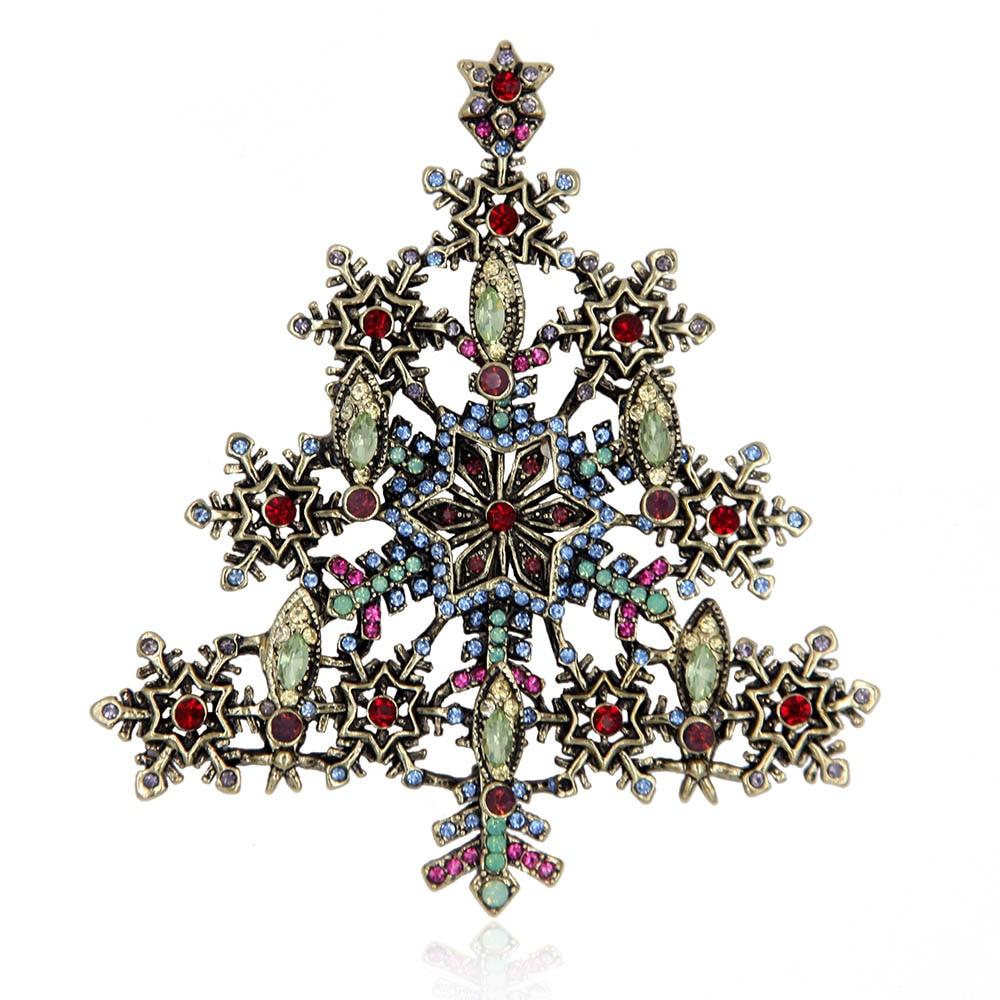 Snowflake christmas tree brooch pin santa claus holiday