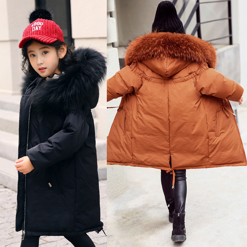New High Quality Children Winter Jacket Girl Winter Coat Kids Warm Thick Fur Collar Hooded Long Down Coats For Teenage 5-14Y mmc brand children s winter thick warm brief style gradient splice high quality hooded down coats for girls 90