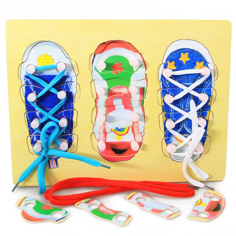 Home Impartial Montessori Material Sensorial Shoe Lacing Puzzle Montessori Educational Wooden Toys Preschool Montessori Toys For Infants Uc1764