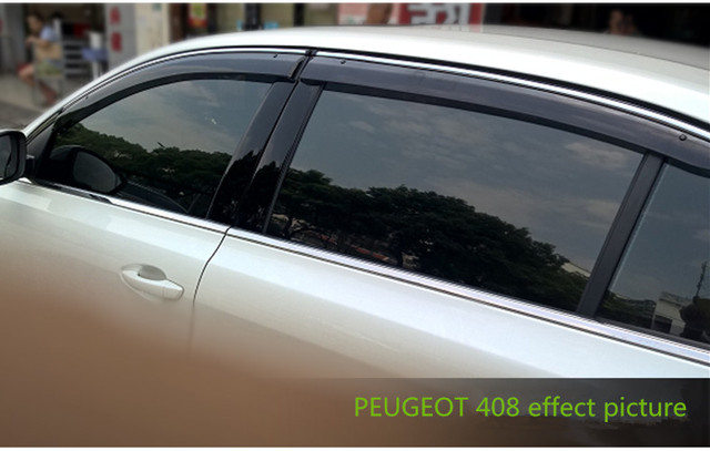 FIT FOR PEUGEOT 408 2009-2016 SIDE WINDOW RAIN DEFLECTORS GUARD VISOR WEATHER SHIELDS DOOR SHADOWS ACRYLIC WEATHER SHIELDS